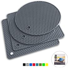 Dishwasher Safe Heat Resistant Non Slip Protection from Hot Pots and Pans For Counter /& Table Serving Dish Black Makerstep Silicone Trivet Mat 3 Set in Heart Design Trivets Hot Pan Holder