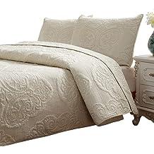 a252099befd5 Brandream White Beige Vintage Floral Comforter Set Queen Size Bed Quilt Set