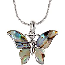 d5fae942f Alilang Silver Tone Abalone Colored Stone Butterfly Insect Wings Pendant  Necklace