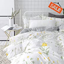 aa8fd10c948e VClife Twin Floral Duvet Cover Sets Cotton Yellow White Botanical Bedding  Sets for Girl Woman -Reversible Arrow Printed Grey Bedding Collection .