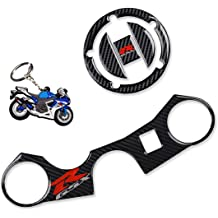 REVSOSTAR 5D Real Carbon 4 Pcs Per Set Tank Cap Motorcycle Fuel Cap Decal Top Clamp Triple Tree Pad Reservoir Socks with Keychain for R1