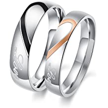 8c5f599af OPK Jewelry His and Her Stainless Steel Heart Shape Matching Set Real Love  Couples Wedding Band
