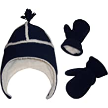 24111514b N'Ice Caps Little Boys and Baby Sherpa Lined Micro Fleece Pilot Hat