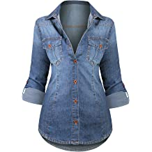0ac3b0234 HOT FROM HOLLYWOOD Women's Button Down Roll up Sleeve Classic Denim  Shirt