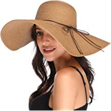 600dfe9b Lanzom Womens Wide Brim Straw Hat Floppy Foldable Roll up Cap Beach Sun Hat  UPF 50