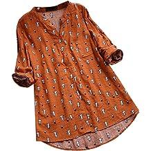 Meikosks Womens Plus Size Blouses Cotton Linen T Shirt 3//4 Sleeve Cat Printed Tunic Tops