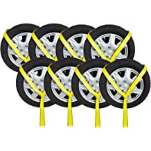4pc Set Mytee Products Interlocking Tire Skates for Tow Truck Wrecker Rollback Carrier Safety Orange