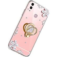 Herbests Compatible with Samsung Galaxy J6 Plus Case Mirror Crystal Diamond Rhinestone Bling Glitter Flower Soft Clear Silicone Makeup TPU Case Girls Women with Ring Stand Holder,Rose Gold