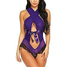 ADOME Women Lingerie Bandage Halter Teddy Cross Back Bodysuit Exotic Teddy Babydoll