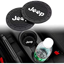 Lipctine 2 Pack 2.75 Inch Soft Rubber Pad Set Round Auto Cup Holder Insert Drink Coaster fit for BMW Ford Chevrolet Silverado for BMW Ford Chevrolet Silverado Jeep Wrangler Liberty GMC Car Truck
