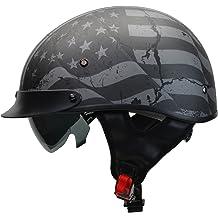 19aa4501 Vega Helmets Warrior Motorcycle Half Helmet with Sunshield for Men & Women,  Adjustable Size Dial DOT Half Face Skull Cap for Bike Cruiser .