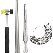 YaeTek Jewelry Ring Sizer Tools Including Ring Mandrel Polishing Stick Jewelry Hammer Jewelry Polishing Cloth Ring Sizer Adjuster Polished Agate for Jewelry Making Ring Sizer Gauge