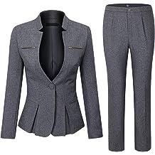 e18ca047d8dd YUNCLOS Women's Elegant Business Two Piece Office Lady Suit Set Work  Blazer