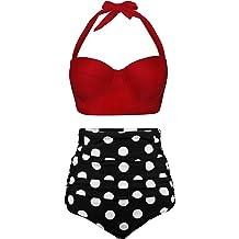 695ab8d817 Angerella Women Vintage Polka Dot High Waisted Bathing Suits Bikini Set