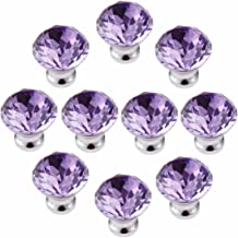 FirstDecor Pack of 6 Yellow Diamond Cut Crystal Glass Cabinet Knobs Cupboard Drawer Pull Handle 30mm