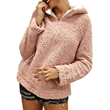 ZUong2 Womens Oversized Warm Sherpa Pullover Hoodie with Pockets Fuzzy Fleece Sweatshirt Autumn Winter Clothes