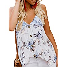 87ab6727ec Shawhuwa Womens V Neck Button Down Strappy Flowy Tank Tops Summer  Sleeveless Loose Casual Shirts Blouses