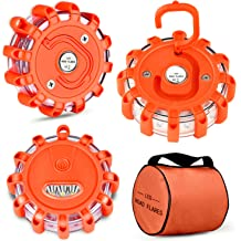 3 pack easy storage bag for a car bike SUV Jeep magnet base truck or boat and battery operated electronic Road flare kit with flashing LED safety warning lights for emergency round disc shape