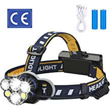 YunZyun Fishing Headlamp LED Headlamp Flashlight T6 Head Torch Lamp Charger 18650 Fishing Headlamp Designed for Fishermen Super Bright Black