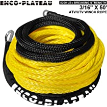 ENCO-PLATEAU Synthetic Winch Rope,3//16 x 50-8200 LBs Synthetic Winch Rope UTV//ATV Winch,Winch Accessory