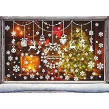 Cimeiee Christmas Snowflake Window Decorations Winter Wonderland Xmas Elk Snowman Party Stickers Ornaments Supplies