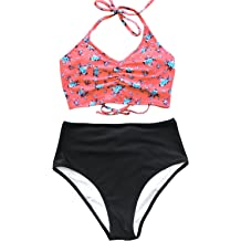 81fd23d352 CUPSHE Women's This is Love High Waisted Lace Up Halter Bikini Set