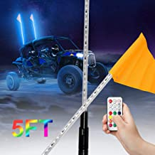 Can Am Maverick X3 Yamaha Xprite 5ft Spiral RGB LED Flag Pole Whip Light with Remote Control for Polaris RZR XP 1000 UTV ATV