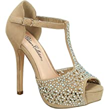 Blossom Nemo-76 Wedge Glitter Strappy Heels Pumps Platform Bridal Prom