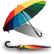 5a1b5e7ecf7d2 meizhouer 24k Rib Large Color Rainbow Umbrella Fashion Long Handle Straight  Anti-UV Sun/Rain Stick Umbrell. KWD 9. QUEENSHOW Large Rainbow Umbrella Big  ...