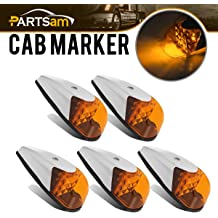 Partsam 1pcs Amber Lens Yellow LED Truck Cab Lights 12-3528-SMD LED Rectangle Cab Marker Roof Running Top Light Assembly w//Reflector Compatible with Freightliner//Volvo Waterproof