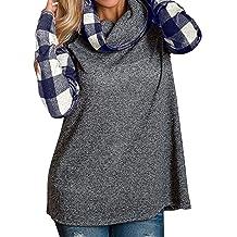 Womens Tops,Kulywon Women Long Sleeve Leopard Print V-neck Irregular Hem Blouse Pullover Tops Shirt
