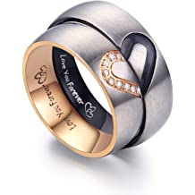 c1a5fe063 LAVUMO Matching Promise Rings for Couples Love You Forever Wedding Bands  Sets for Him and Her Half Heart Rings Stainless Steel 6mm with Box .