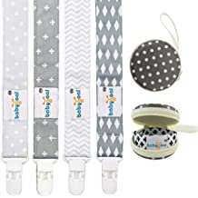 4 Pack with Pacifier Case for Teething Toy /& Baby Shower Gift Fits All Pacifier Styles for Girls and Boys 4PS07-HZ-CA Babygoal Baby Plastic Pacifier Clips for Boys