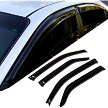Tuningpros Window Visor Compatible With 2004-2012 Chevrolet Colorado Extended Cab 4 Pcs Set DGWV2-036-2 Outside Mount Deflector Rain Guard Dark Smoke