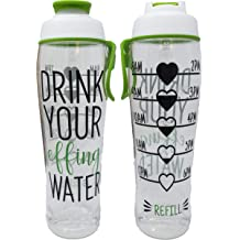 026fef3204 50 Strong BPA Free Reusable Water Bottle with Time Marker - Motivational  Fitness .