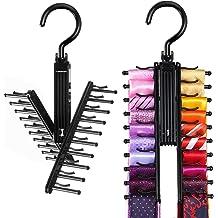 Kasmena 2Pcs Tie Rack Belt Hanger Holder Hook for Closet Organizer Storage