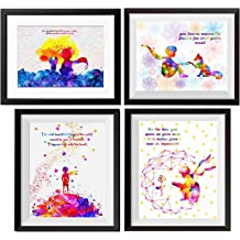 Uhomate 4 pcs Set Beauty and the Beast Princess Belle Beauty Beast Canvas Wall Art Anniversary Gift Baby Gift Inspirational Quotes Wall Decor for Living Room Wall Decorations for Bedroom M027 11X14