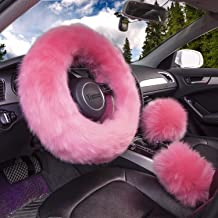 Fluffy Steering Wheel Cover Set Pink Black Beige for Women Men Fuzzy Winter Warm Wrap Universal Fits Car Auto Truck Jeep 14-15 inches with Handbrake Cover Gear Shift Cover