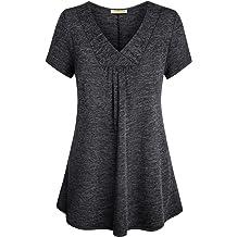 e0168137f33 Baikea Womens Cross V Neck Short Sleeve Loose Flare Tunic Tops with Center  Pleats