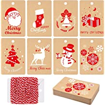 200 Pieces Paper Tags Kraft Christmas Gift Tags Hang Labels with Snowflake Christmas Tree Elk Design for Christmas DIY Art Gift Favor with 65.6 Feet Twines String 10 Different Styles