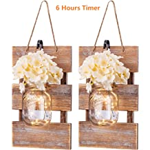 SUNVP Rustic Mason Jar Wall Lights with Timer LED /& Remote Control Set of 2 Fairy Light String /& Solid Wooden Boards with Silk Hydrangea Flower for Farmhouse Hanging Battery Powered Sconce White