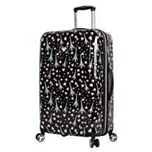 Expandable Scratch Resistant Designer Lightweight Bag with 8-Rolling Spinner Wheels ABS + PC Covered Roses Betsey Johnson 26 Inch Checked Luggage Collection Hardside Suitcase