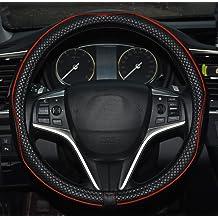 Microfibre leather steering wheel cover Wavy Line Splice X stitch pattern Purple