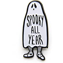 21b33b810 Ectogasm Spooky All Year Ghost Enamel Pin in Black and White Halloween  Fashion Accessory Unisex