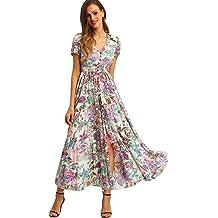 5ca1cc313c4 Milumia Women Floral Print Button Up Split Flowy Party Maxi Dress