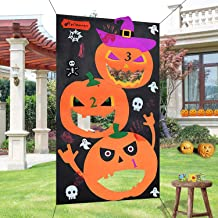 PartyTalk Pumpkin Bean Bag Toss Games with 3 Bean Bags Halloween Games for Families with Kids Travel Games Halloween Party Decorations