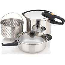 Renewed ZCWEZ02 Zavor EZLock 6 Quart Dual-Setting Pressure Cooker with Universal Locking Mechanism and Accessories Polished Stainless Steel