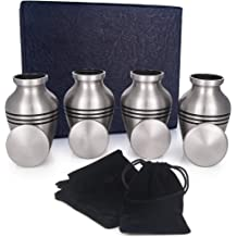 Always in My Heart Mini Cremation Urn for Ashes- Mini Keepsake Sharing Urns to Honor Your Love One Set of 4 Small Keepsake Urns for Human Ashes with Velvet Case 30mmx20mm