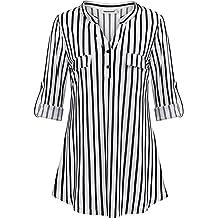 917841106435 Nandashe Womens 3/4 Roll Sleeve Shirt V Neck Button Down Blouse Loose Tunic  Tops