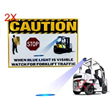 Blue Arrow OZ-USA 4 Round High Output Blue Arrow LED Forklift Warning Caution Safety Light Boom Crane Warehouse Heavy Equipment Vehicle